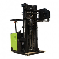Three-way electric stacker lift truck with narrow passages
