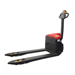 Flexible operation for electric walkie pallet jack in ultra-narrow spaces