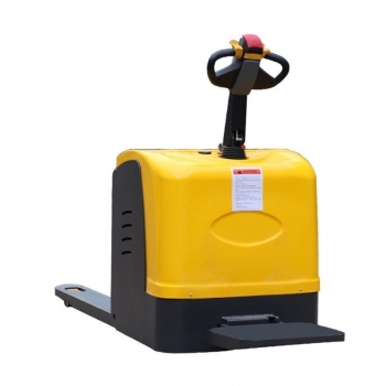 Ride on pallet truck with improved safety factor and energy saving